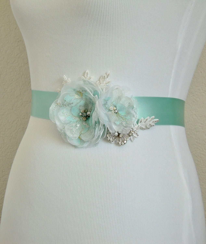 Aqua/Mint Wedding Dress Sash, White Organza and Aqua Lace Tulle ...