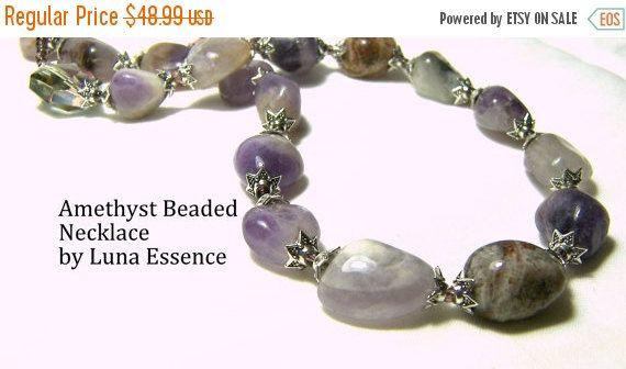 Sale Amethyst Beaded Necklace Amethyst Nugget  by LunaEssence