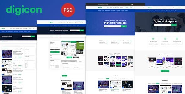 Digicon - Digital Content Marketplace PSD Template Nulled