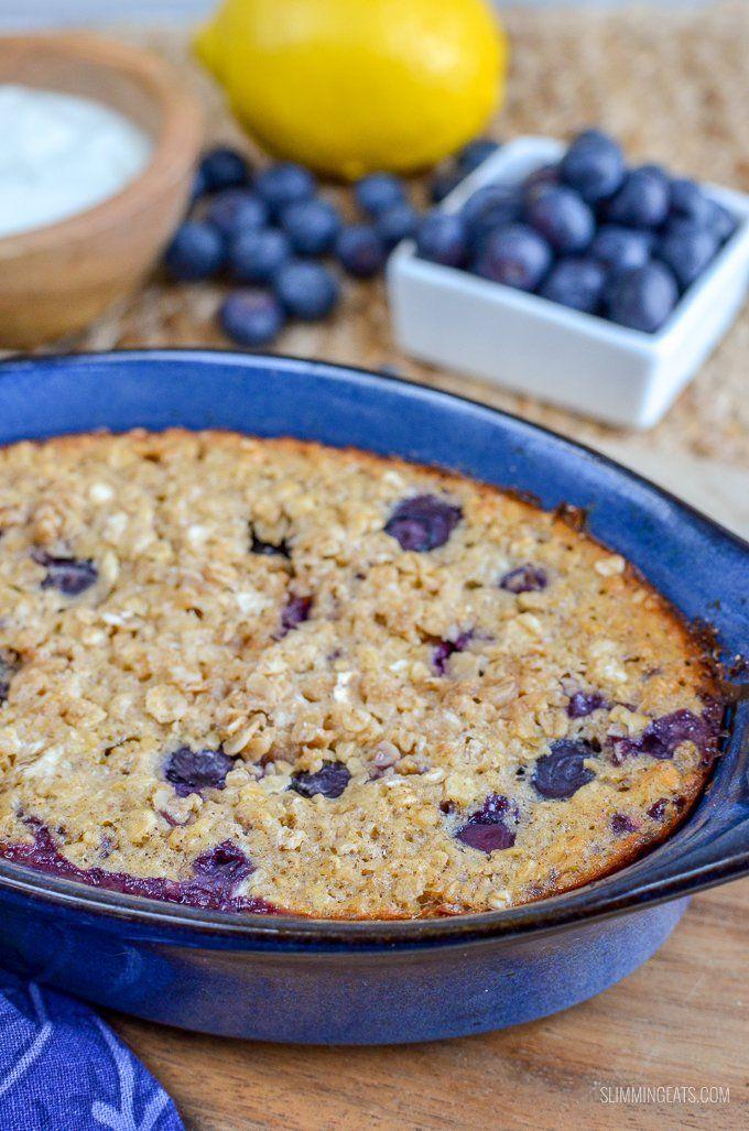 Blueberry and Lemon Baked Oats | Slimming World