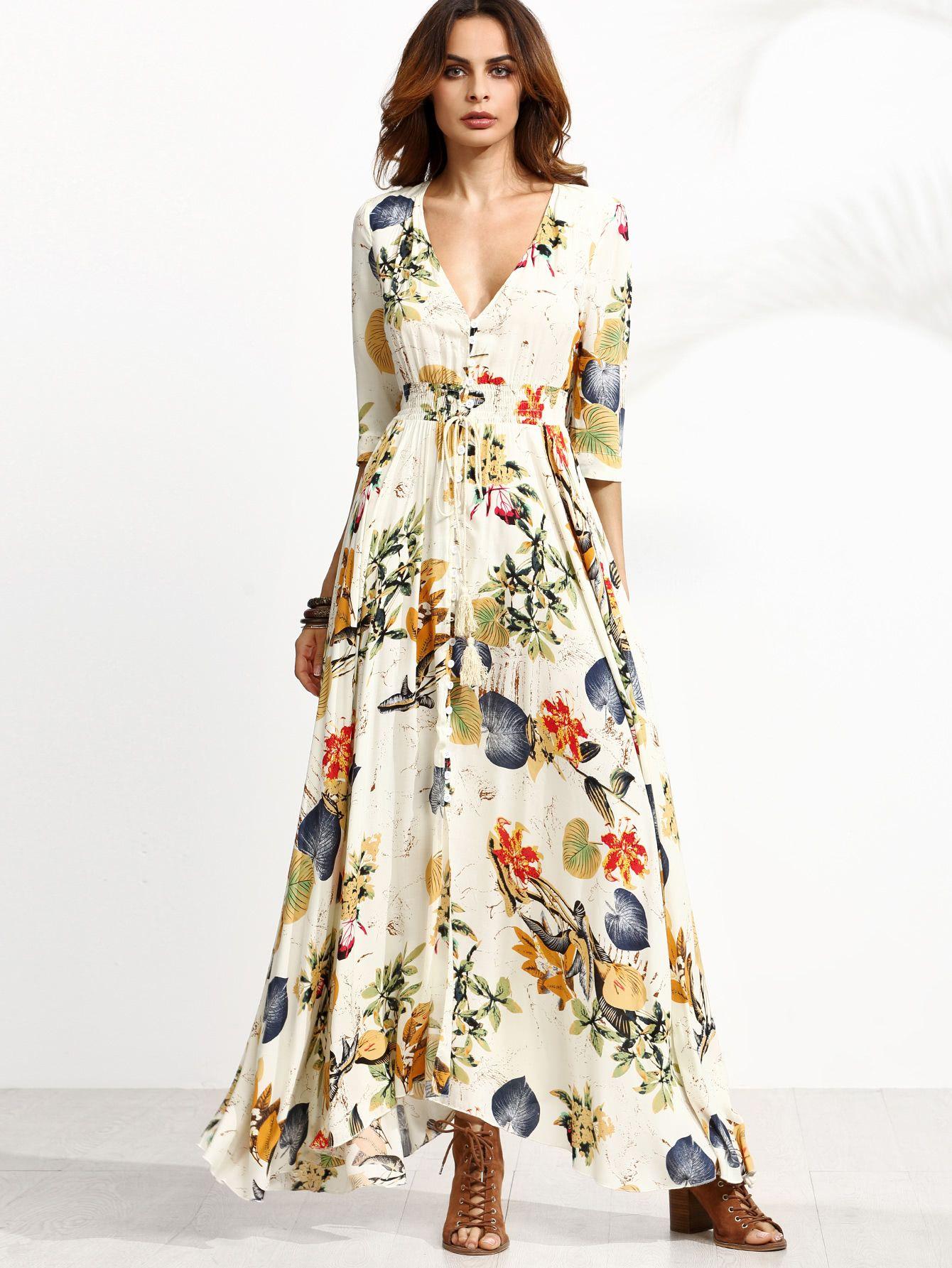 60324b0a6 Vestido escote V profundo con estampado floral-Spanish Romwe Sitio Móvil