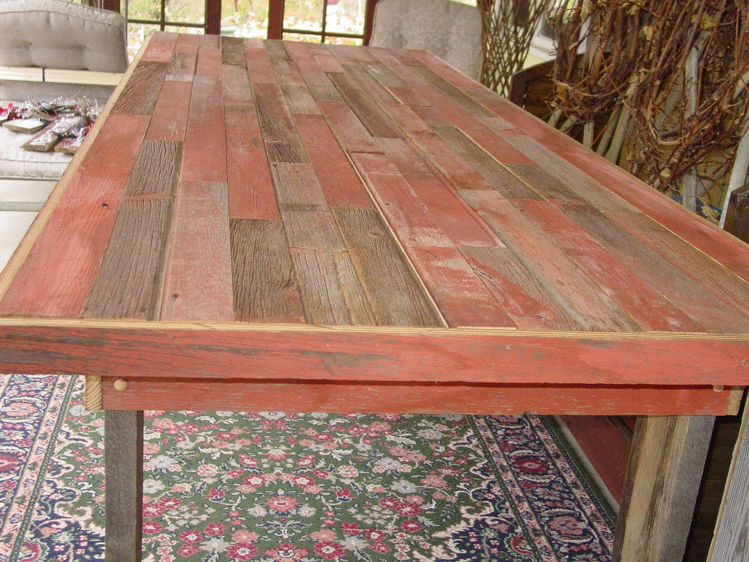 9 1/2 Ft Reclaimed Barn Wood Furniture Table Country Farm Table Farmhouse  Farmers Benches