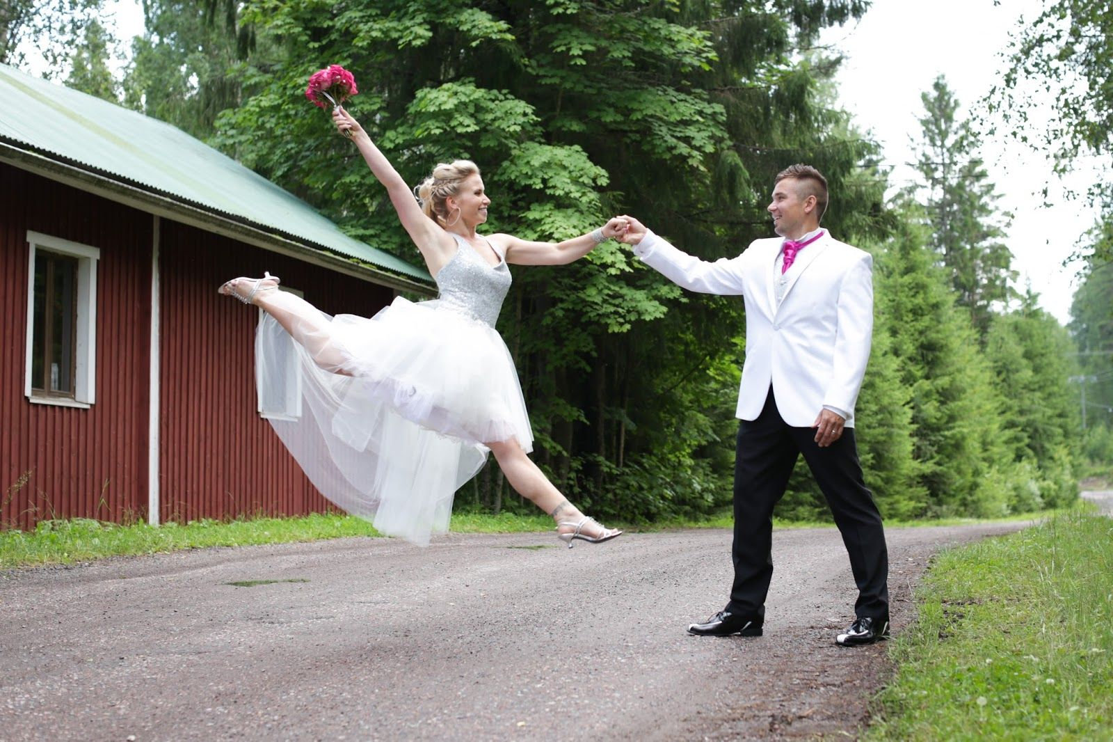 Real wedding in Finland. Dress made by Pukuni (www.pukuni.fi). Wedding dress with silver sequin top, tulle hem, short front, long back.