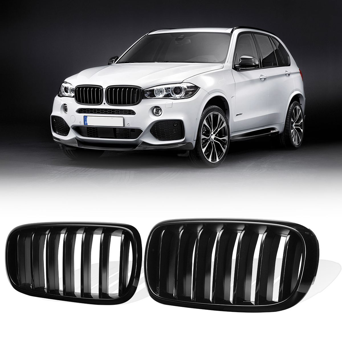 1 Pair Glossy Black Matte Black M Style Front Bumper Kidney Grill