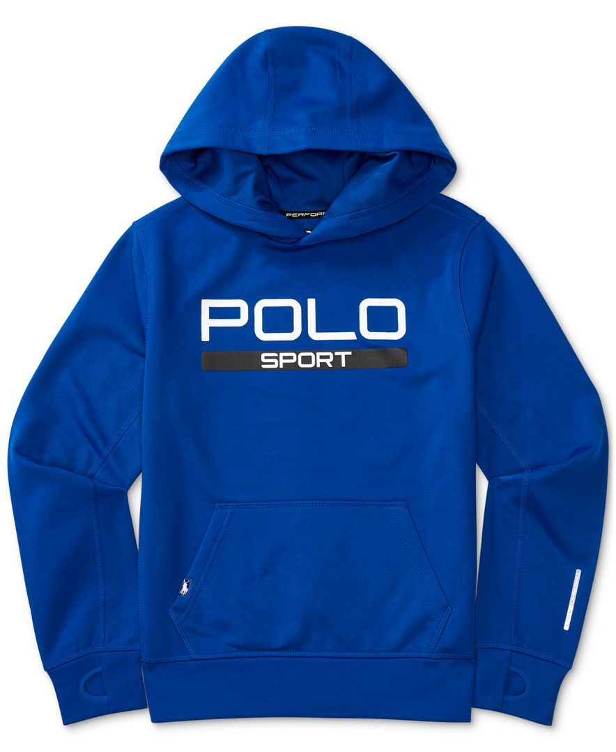 POLO Ralph Lauren Mens Blue Polo Sport Tech Fleece Hoodie S