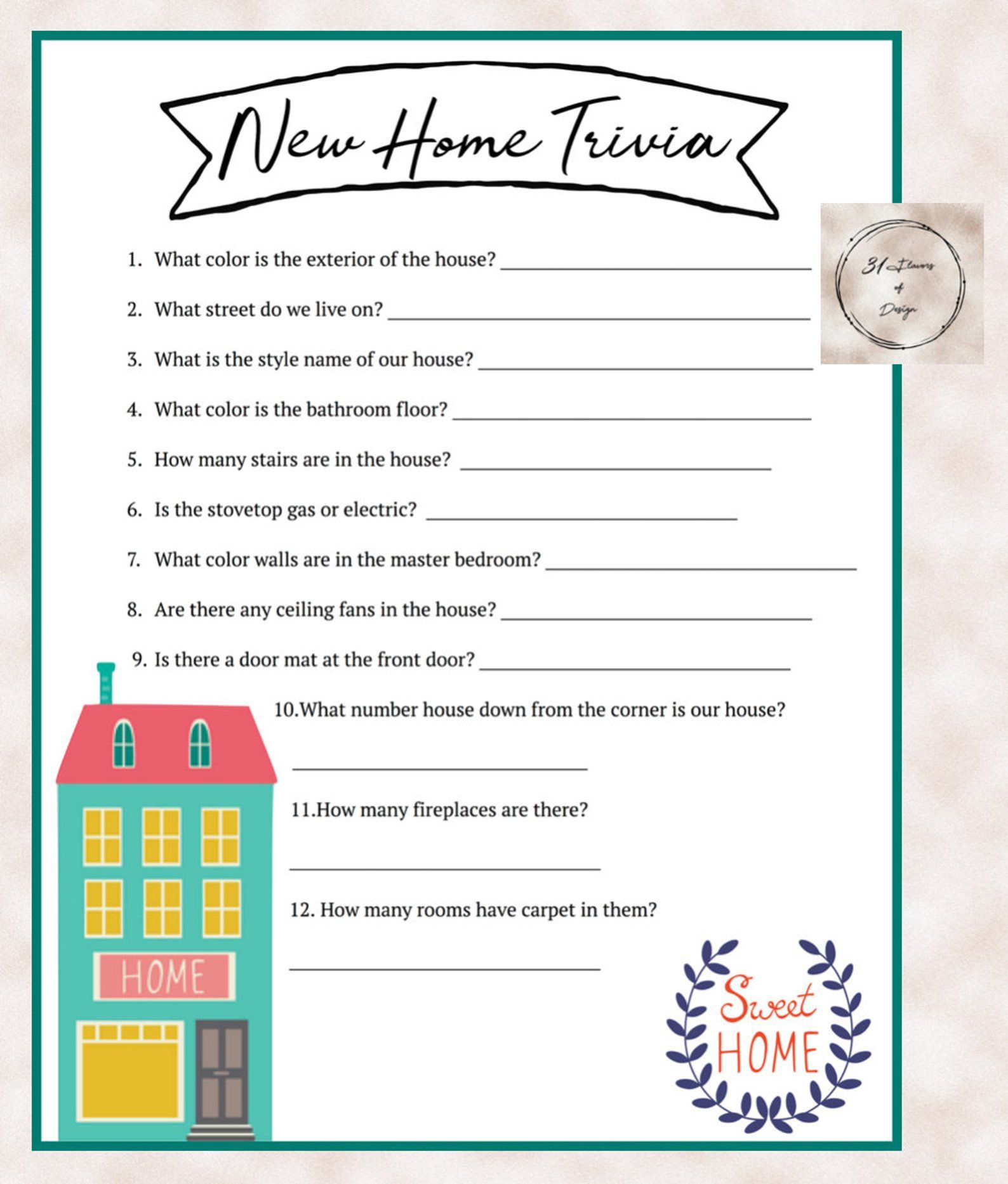 House Warming Party New Home Trivia Game Instant Download
