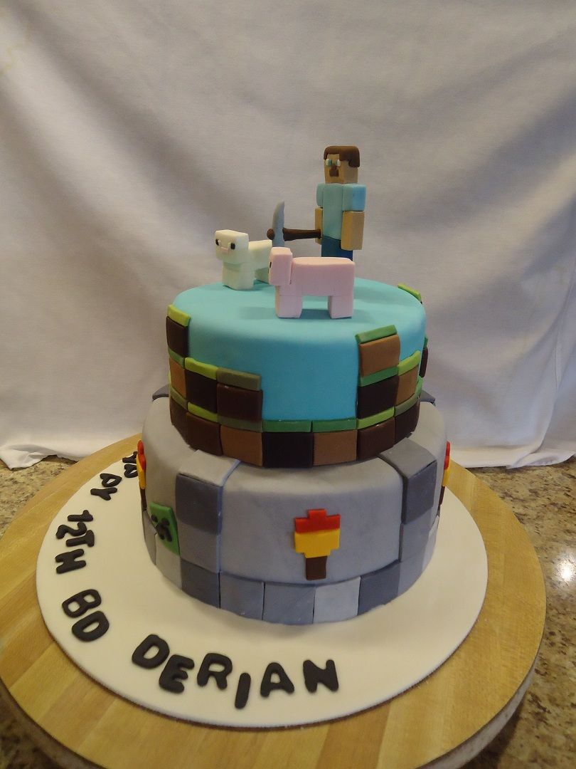 Minecraft Birthday Cake Derian wanted a Minecraft cake for his