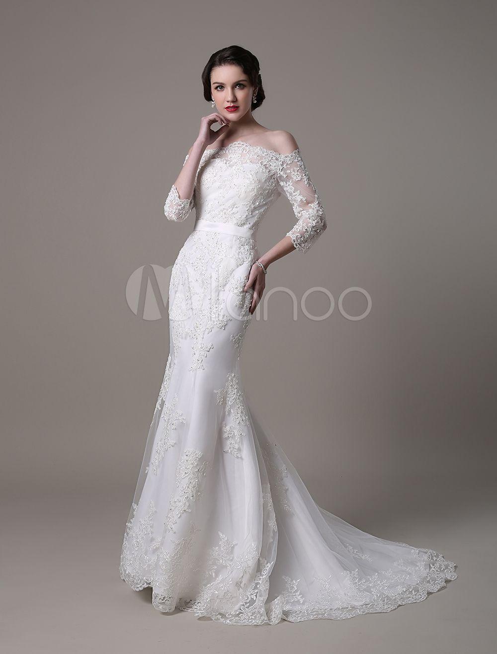 Fantastisches Meerjungfrau Brautkleid aus Spitze mit ...