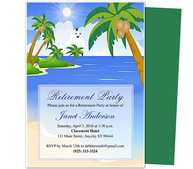 Retirement Templates  Paradise Retirement Party Invitation