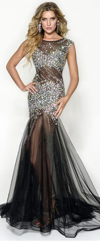 Exquisite tulle scoop neckline mermaid seethrough evening dresses