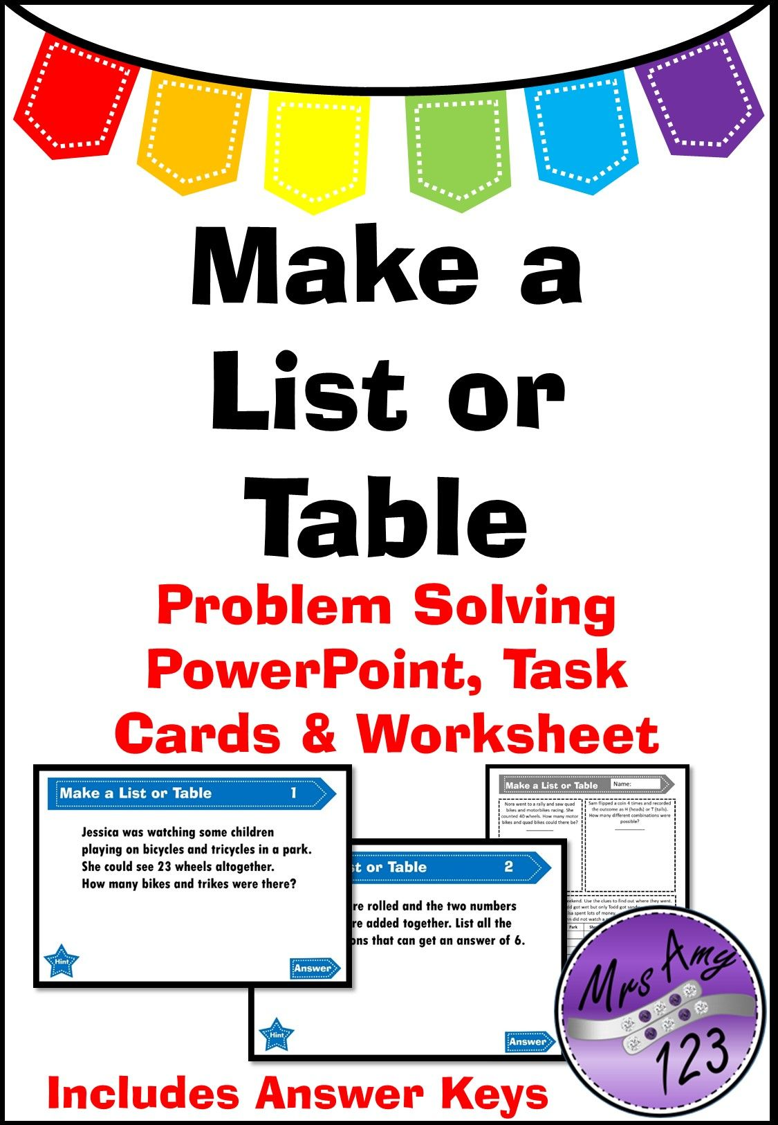 Make a List or Table- Problem Solving PowerPoint, Task Cards and ...