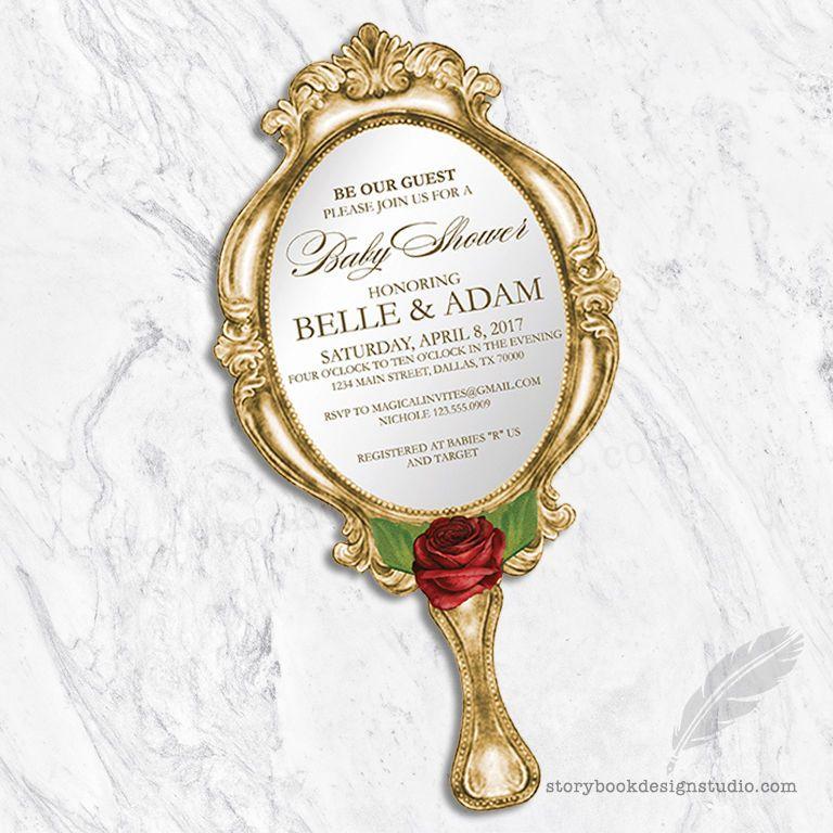 Elegant Beauty And The Beast Baby Shower Invitations / Die Cut Hand Mirror PRINTED  | EBay