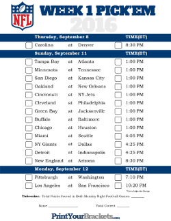 picture relating to Nfl Week 8 Printable Schedule identified as Printable NFL Pickem Sheets Unified bowling Nfl 7 days