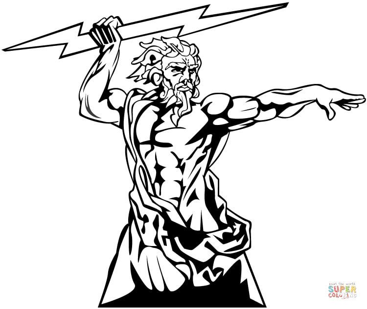 Poseidon Coloring Pages Super Coloring Pages Zeus Tattoo