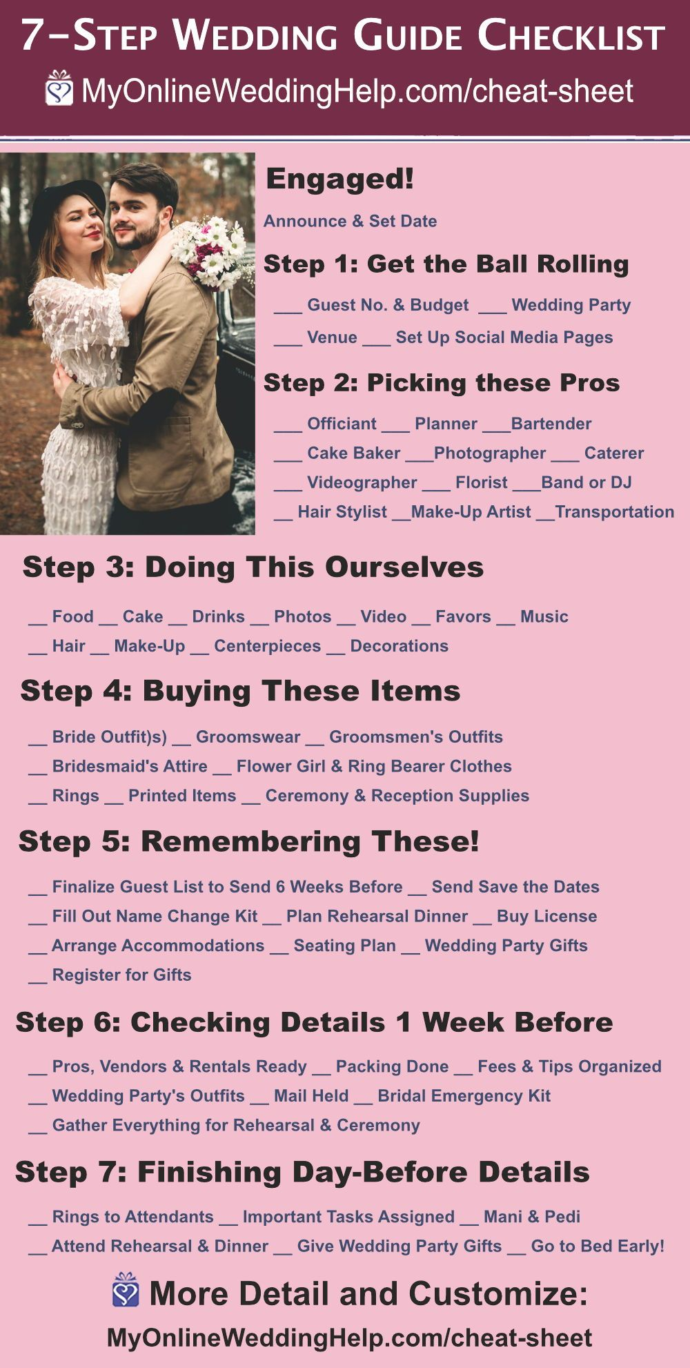 7 Step Wedding Guide Checklist And Printable Cheat Sheet Wedding Guide Checklist Wedding Guide Wedding Planning Checklist Printable