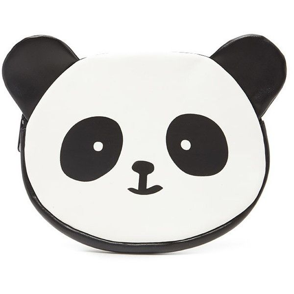 Forever 21 Panda Coin Purse (€6,16) ❤ liked on Polyvore featuring bags, wallets, zip wallet, zippered change purse, zipper wallet, white wallet and zipper coin purse
