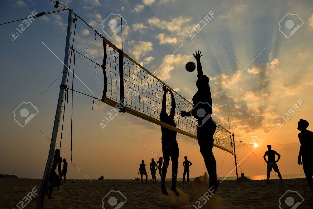 Beach Volleyball Silhouette At Sunset Motion Blurred Stock Photo Affiliate Silhouette Sunset Beach Volley Volleyball Silhouette Stock Photos Photo