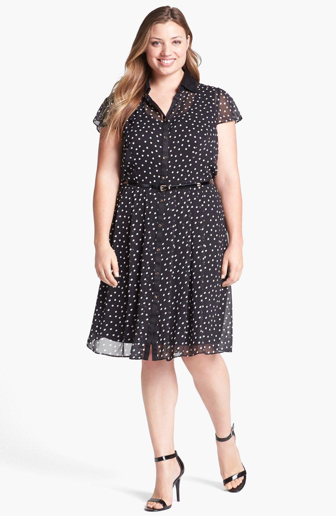 Donna Ricco Polka Dot Chiffon Shirtdress (Plus Size) | Nordstrom ...