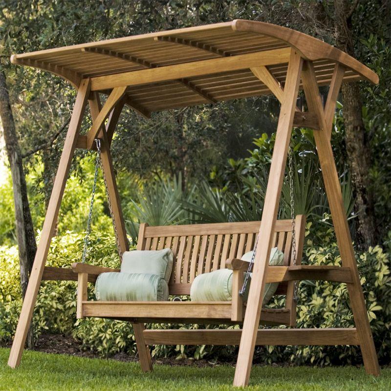 Veranda Swinging Bench with Canopy Teak outdoor