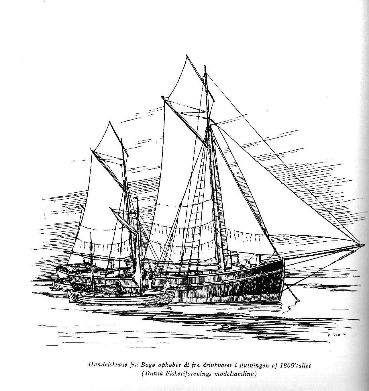 """En bemærkelsesværdig vignet af en handelskvase fra Bogø, der i slutningen af 1800-tallet opkøber ål fra drivkvaser (Dansk Fiskeriforenings Modelsamling). Kvasen må være fra før 1894, da modellen blev fremvist på en fiskeriudstilling i juni 1894. Måske er det galeasen ELISE af Bogø, jf. Pin med registreringsoplysninger her i albummet. Vignet af H. Schøsler-Pedersen i """"Høst fra havet"""", 1960, s. 184. I bogen er der et helt kapitel om de danske handelskvaser."""