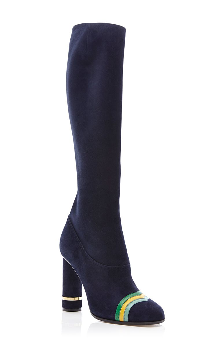 Column Ring Boot In Navy Blue Suede by Loewe for Preorder on Moda Operandi
