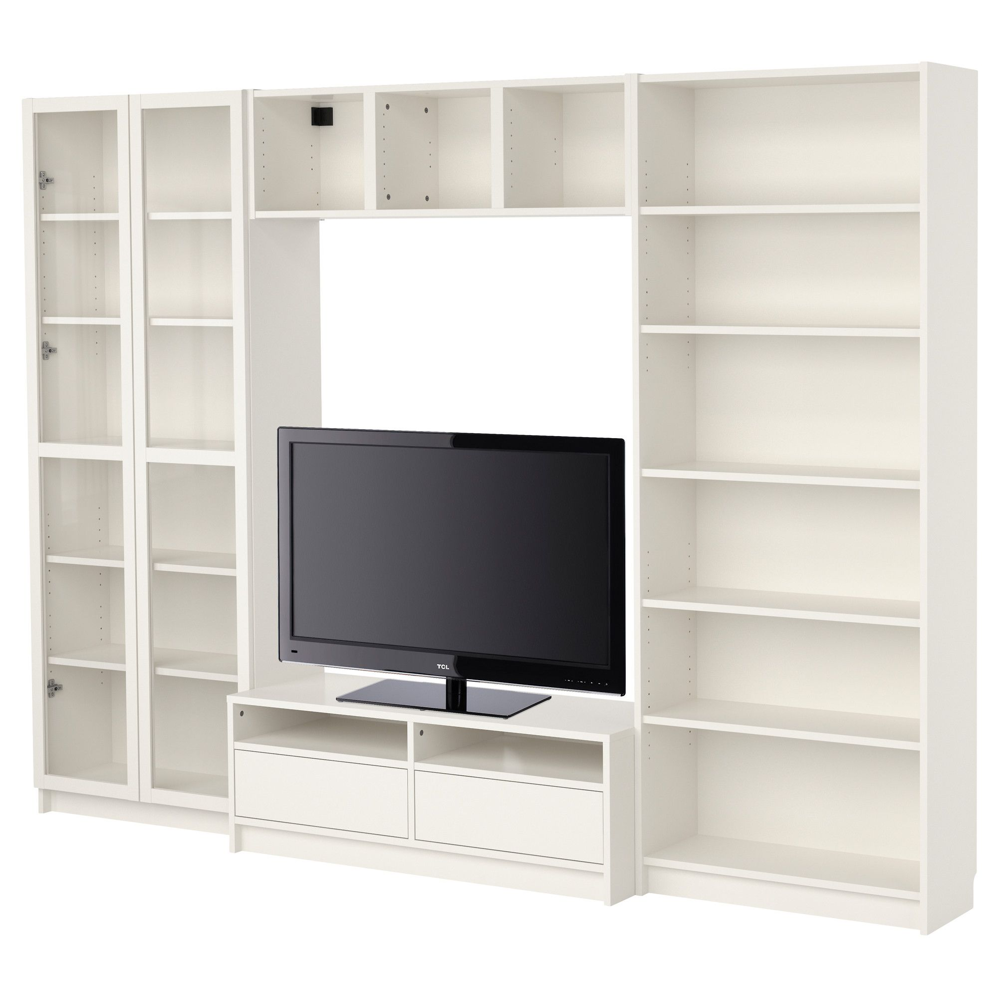 BILLY Bookcase bination with TV bench white IKEA add cushion