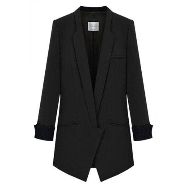 Black Stylish Womens Suit Plain Skinny Office Lady Blazer (€40) ❤ liked on Polyvore featuring outerwear, jackets, blazers, black, black jacket and black blazer