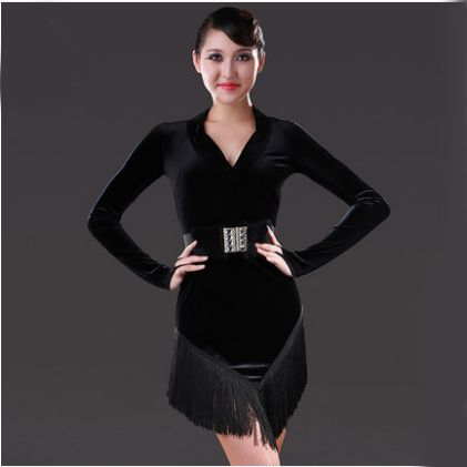 366417fd6e7 Sexy Black Latin Dance Dress Velvet Latin Girls Fringe Ballroom Skirt Tango  Dress salsa robe de danse latine filles danza latino
