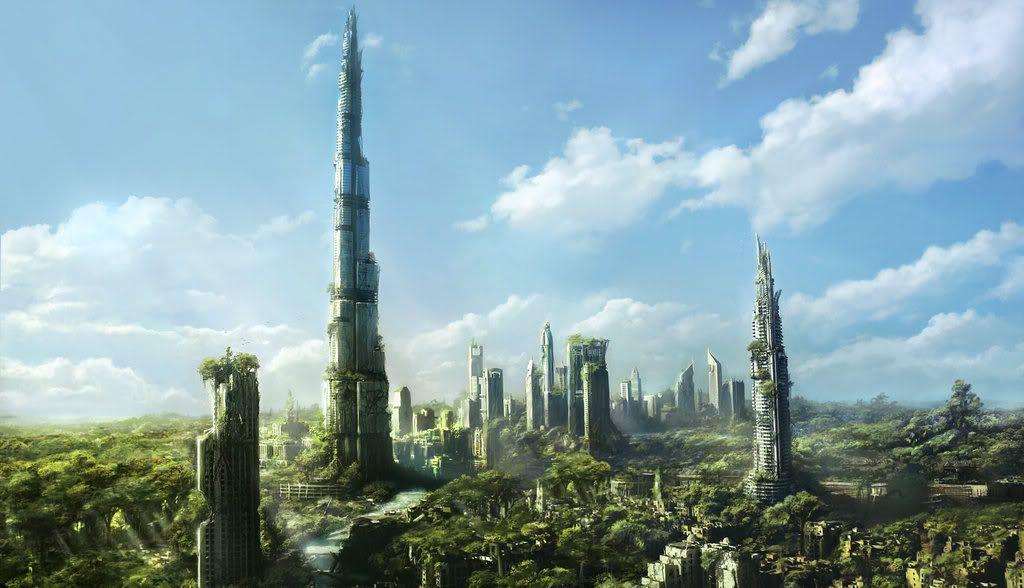 Overgrown Post Apocalyptic City Ciudad Futurista Paisaje De Fantasia Ciudad Fantasia