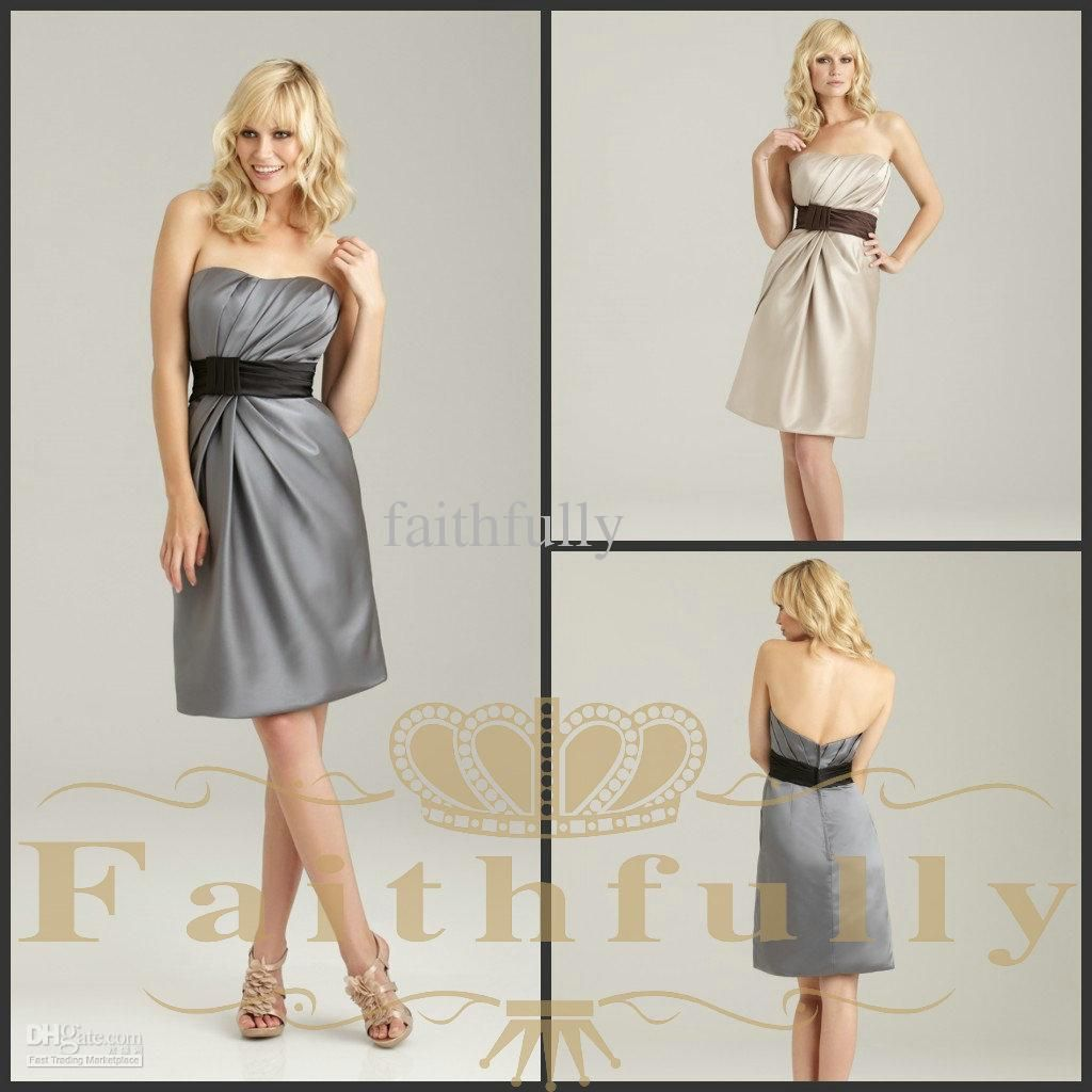Wholesale Cocktail Dresses - Buy Silver Gray Sweetheart Ruched ...