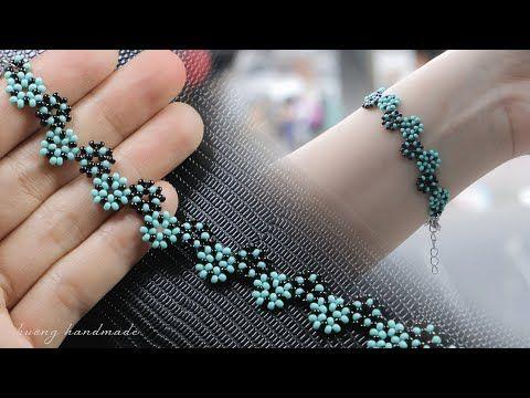 Stylized daisy chain stitch bracelet. How to make beaded bracelet. Beading tutorial - YouTube