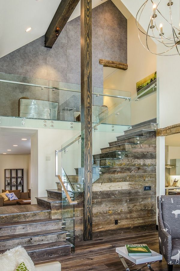 Reclaimed wood and glass railing