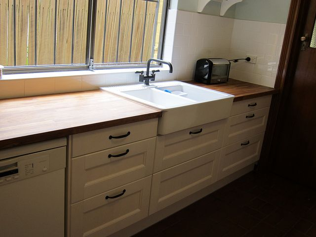 Charming Ikea Domsjo Double Sink And Butcher Block Counter Tops
