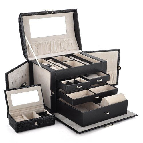 Aspire Huge Leather Jewelry Box Jewelry Holder Classic Black
