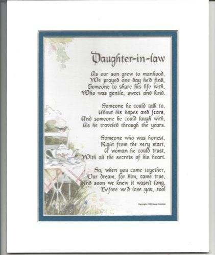 A Gift For A Daughter In Law Touching 8x10 Poem Double Matted In White Dark Green And Enhanced Daughter In Law Gifts Birthday Daughter In Law Wedding Poems