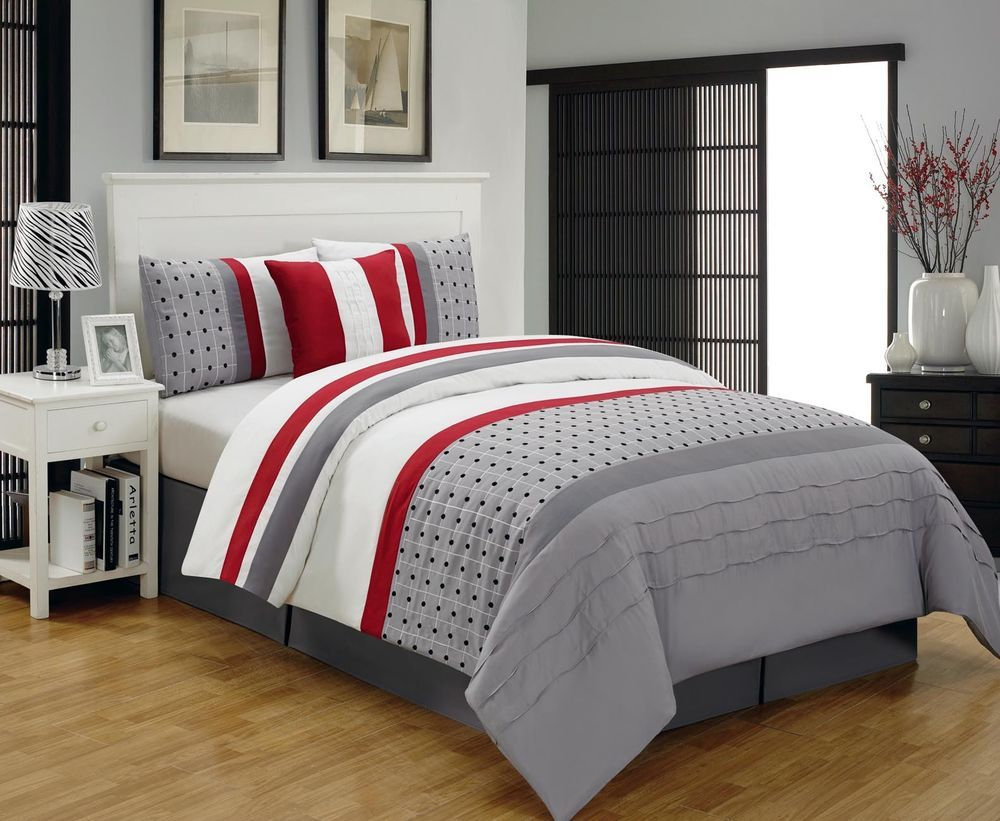 Contemporary Bedroom Geometric Polka Dot Striped Grey Red Comforter Set 1 Piece Square Cushion White Wooden Hea Red Comforter Sets Comforter Sets Red Comforter