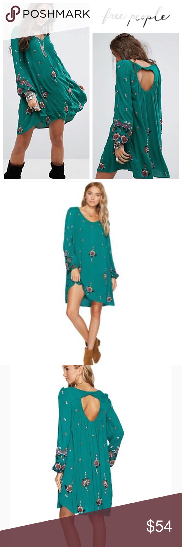 Free People Green Floral Embroidered Minidress Nwt Dance Until Dawn In This Oxford Mini