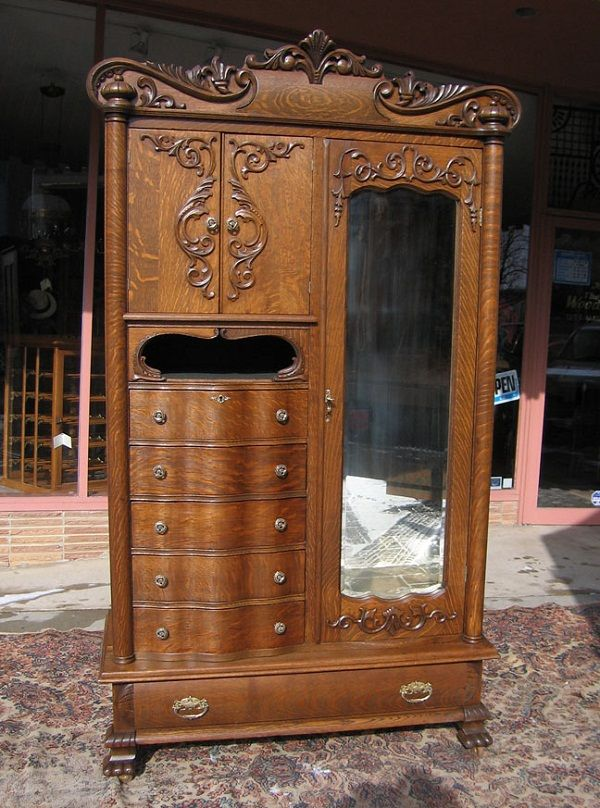 Antique Chifferobe With Mirror Antique Dark Woods