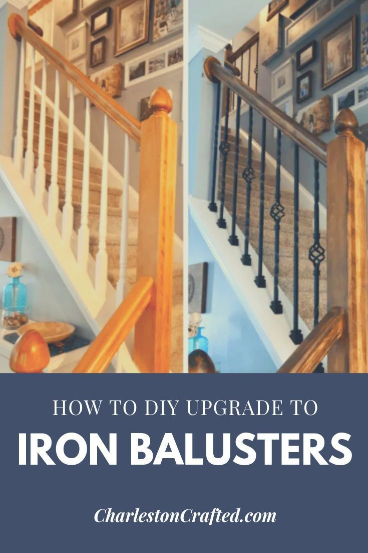 Best How To Replace Wooden Balusters With Iron The Easy And Cheap Way Iron Balusters Stair Well 640 x 480