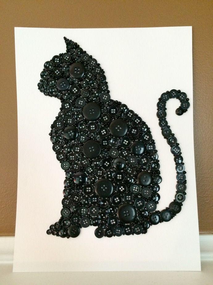 Cat Wall Art button cat ~ black cat ~ black button cat ~ button wall art