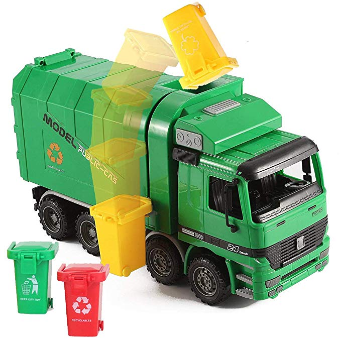 Amazon Com Liberty Imports 14 Oversized Friction Powered Recycling Garbage Truck Toy For Kids With Side Loading And Back D In 2020 Garbage Truck Toy Trucks Kids Toys