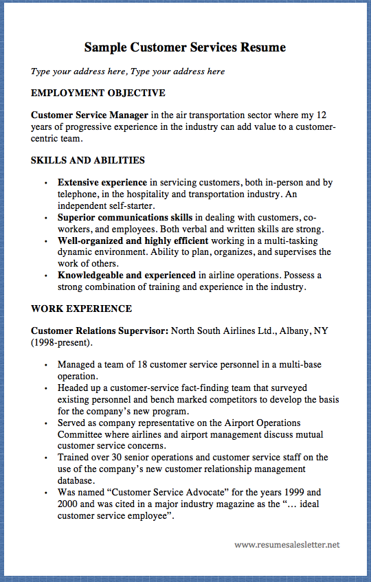 Sample Customer Services Resume Type Your Address Here
