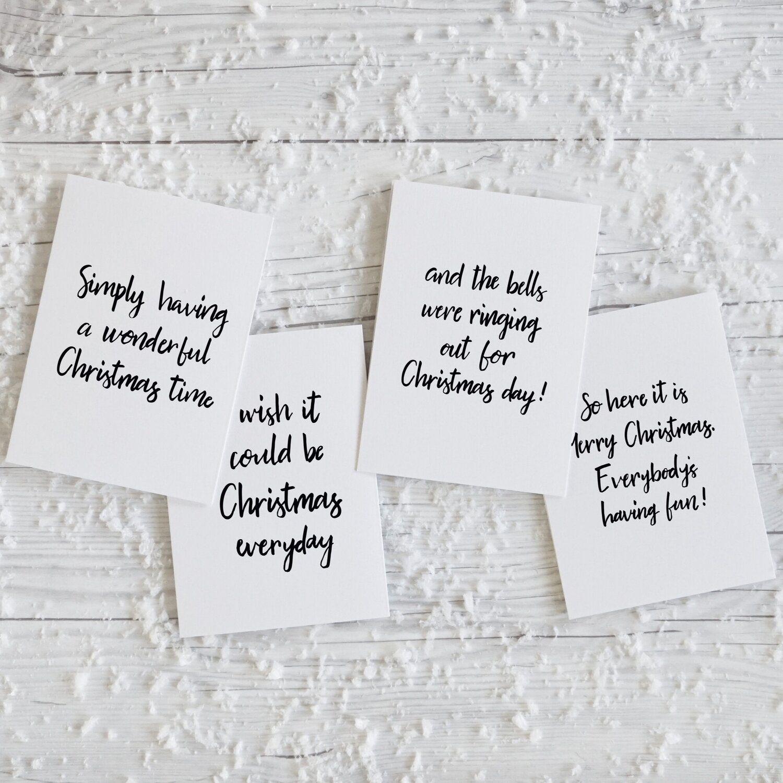 Modern Christmas Song Lyrics, hand lettered luxury