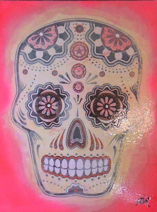 """Cráneo De Azúcar - Rosado""   Original Monochromatic Study   Mixed Media, Distressed Paper, Lacquer on Canvas   18"" x 24"""