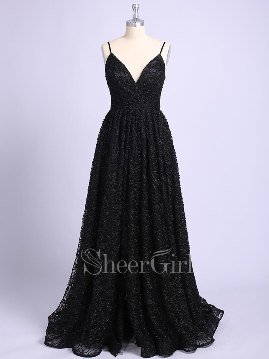 85d888e9a505 Black shiny long prom dresses. V neck sparkly formal dress. 1.Silhouette:A- line 2.Fabric:Lace 3.Embellishment:Slit 4.Neckline:V Neck  5.Sleeve:Sleeveless 6.