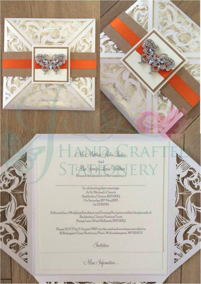 Rustic orange belly band laser cut wedding invitation with diamanté ...
