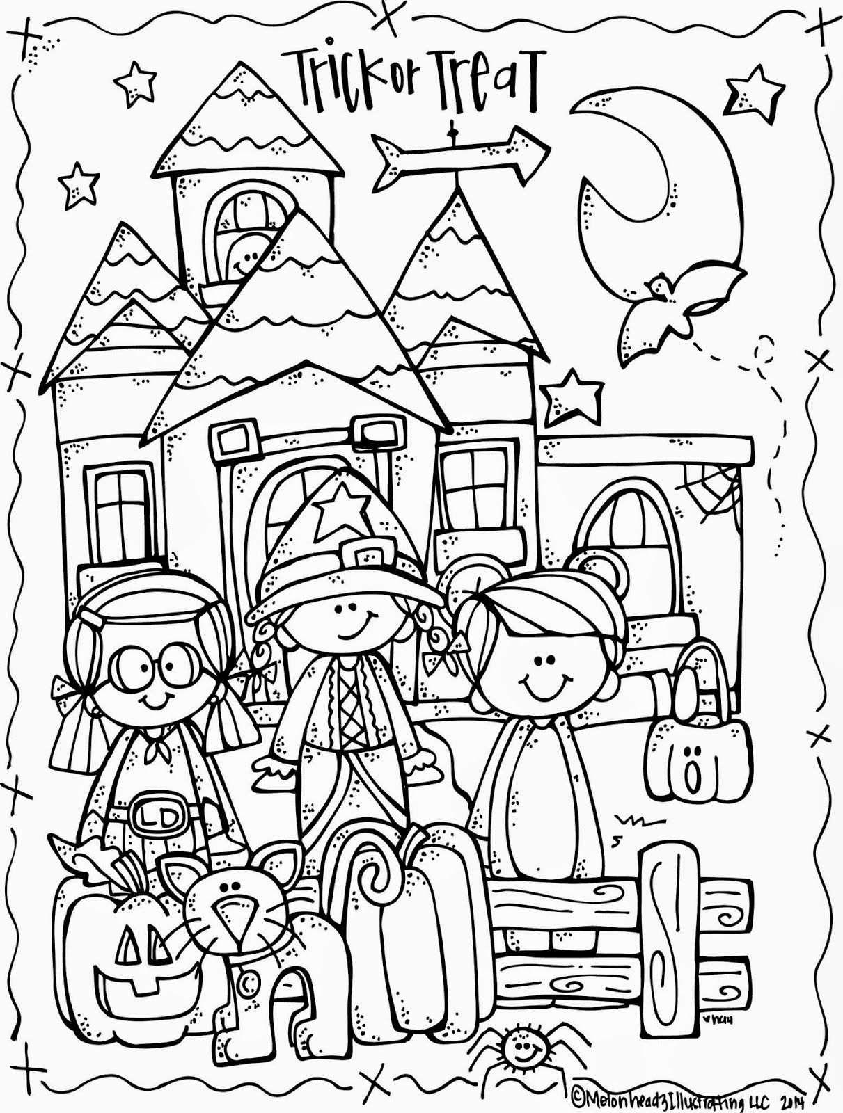 melonheadz illustrating lucy doris halloween coloring page freebie