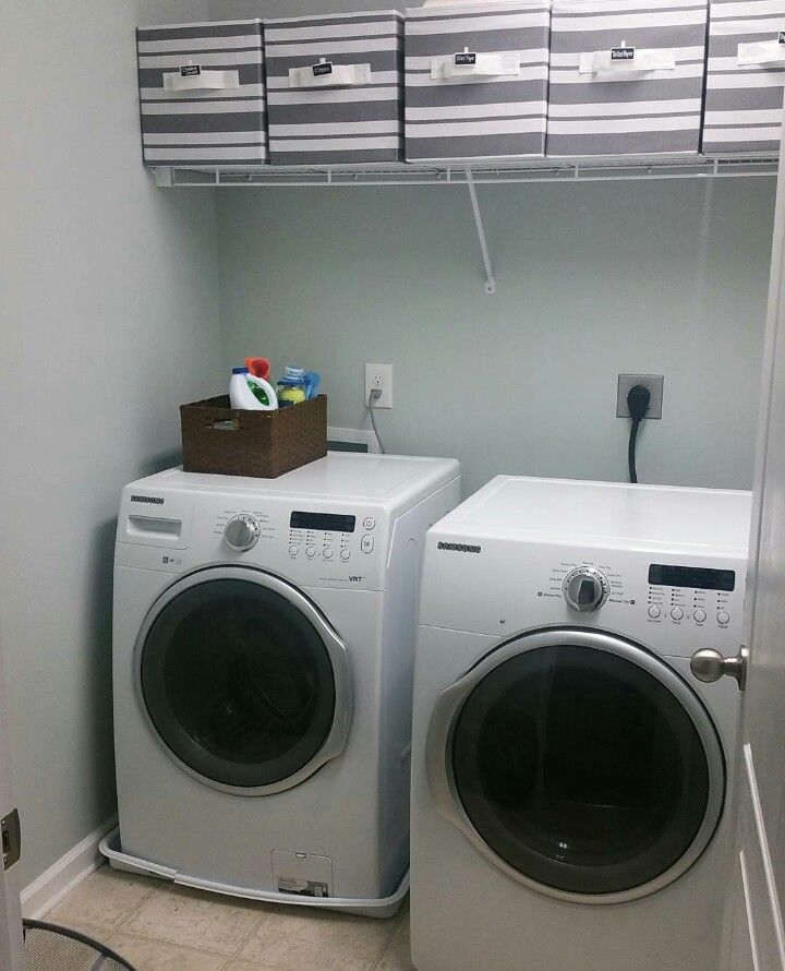 Paint Color Is Sea Salt By Sherwin Williams Laundry Room Laundry Room Basement Remodeling Closet Storage