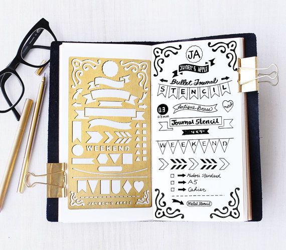 Bullet Journal Stencil Banners and Flag Stencil Planner Stencil fits A5 journal /& Midori Regular.Gold Planner Stencil