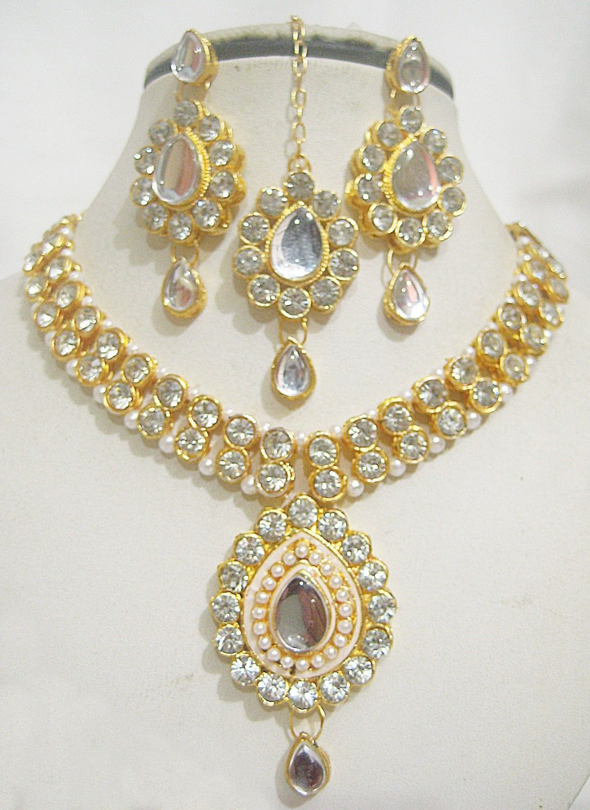 Designer indian gold plated stones kundan necklace party fashion
